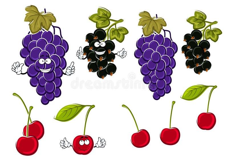As uvas dos desenhos animados, cerejas, corintos pretos frutificam ilustração stock