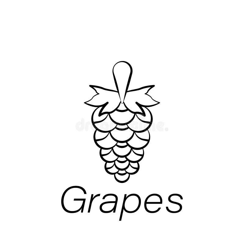 As uvas entregam o ícone da tração Elemento de cultivar ícones da ilustração Os sinais e os símbolos podem ser usados para a Web, ilustração do vetor