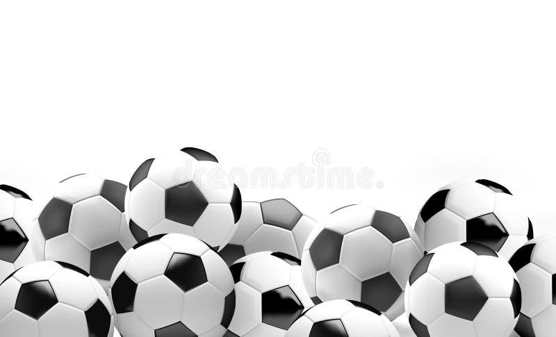 As várias bolas de futebol 3d do futebol rendem ilustração stock