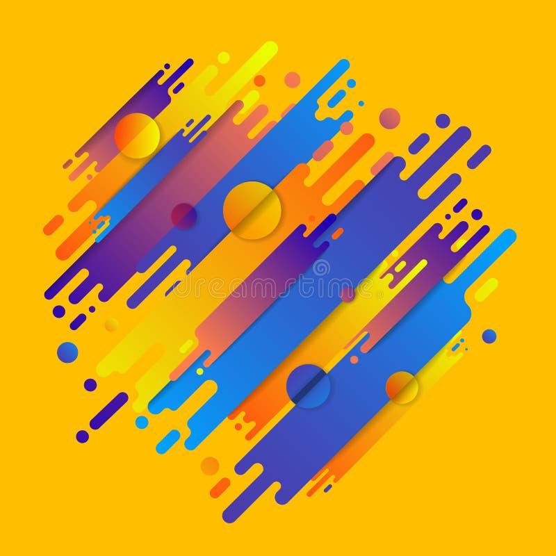 As várias formas arredondadas coloridas alinham no ritmo diagonal Vetor ilustração stock