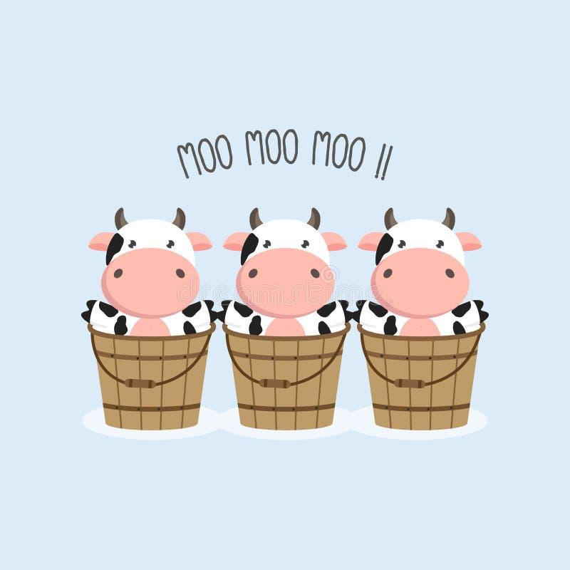 As vacas pequenas do beb? na cubeta de madeira ilustração royalty free