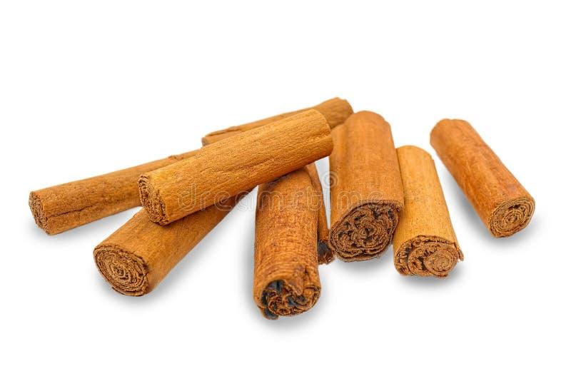 As varas de canela verdadeiras ajuntam o verum da canela isoladas no fundo branco imagens de stock royalty free