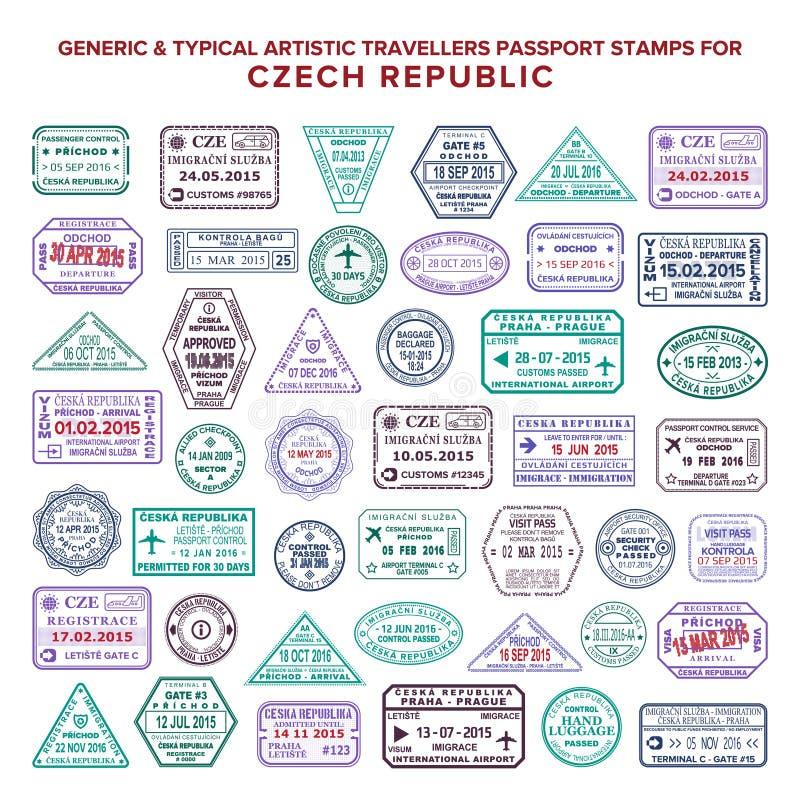 As variações artísticas típicas dos selos da chegada e da partida do passaporte do vetor feito sob encomenda ajustaram-se para Re ilustração royalty free