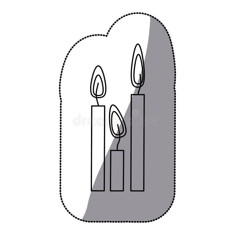 as velas da silhueta da etiqueta ajustaram o ícone ilustração stock