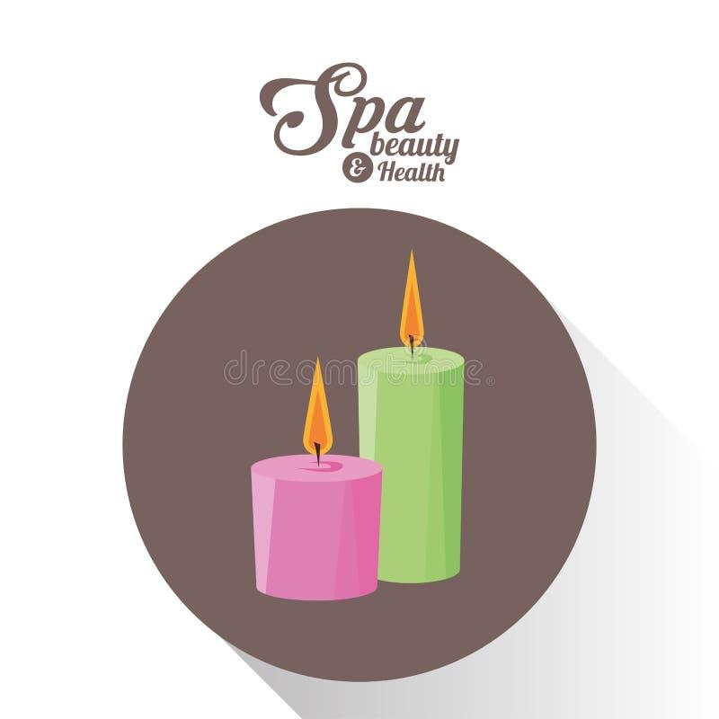 As velas do aroma da beleza e da saúde dos termas bronzeiam o fundo ilustração royalty free