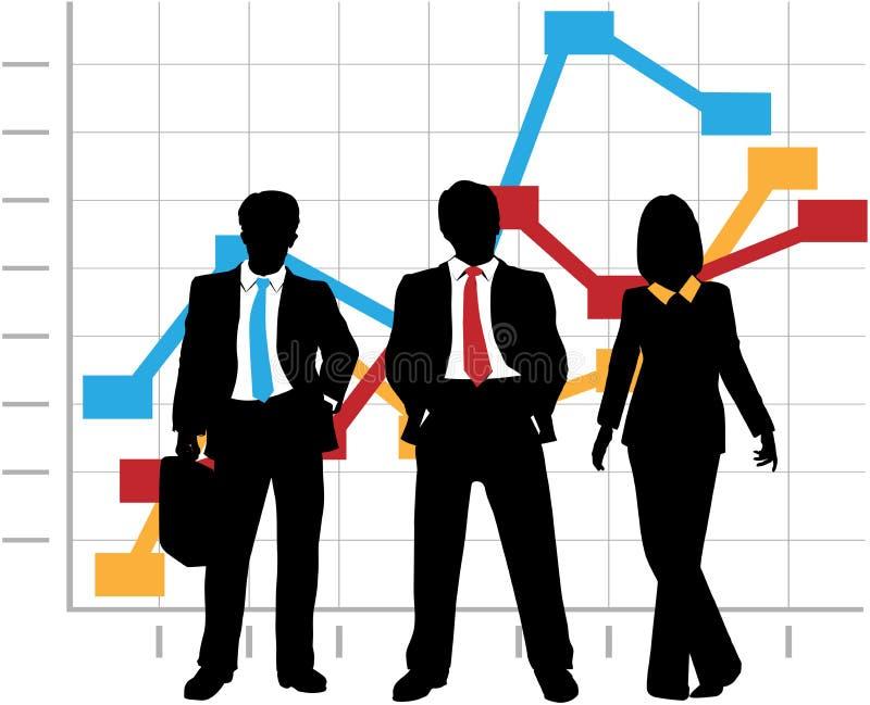 As vendas do negócio Team a carta do gráfico do crescimento da companhia ilustração do vetor