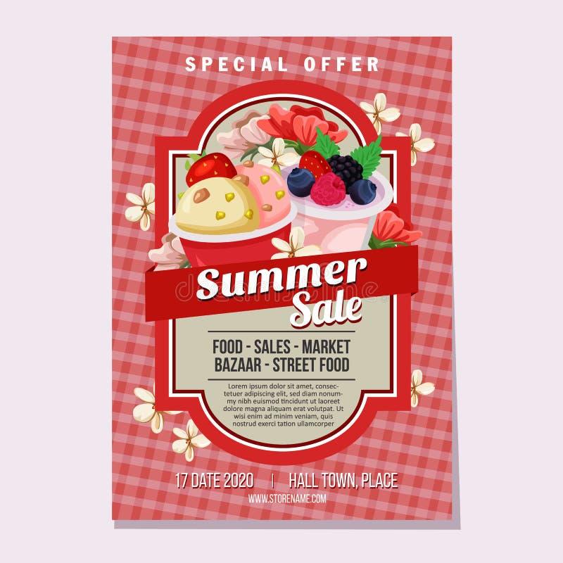 As vendas do verão o tema do mercado de gelado ilustração royalty free