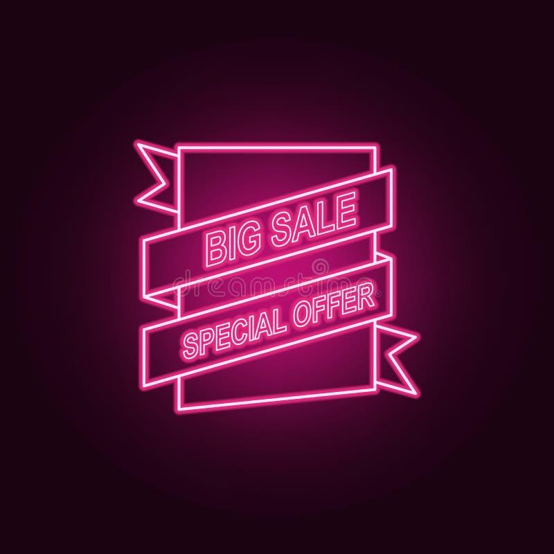 as vendas etiquetam o ícone de néon Elementos do grupo da venda ?cone simples para Web site, design web, app m?vel, gr?ficos da i ilustração royalty free