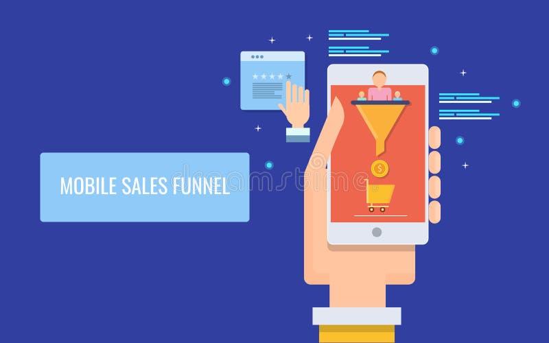 As vendas móveis convergem-se, otimização da conversão, conduzem a geração através do dispositivo móvel, mercado digital Bandeira ilustração royalty free
