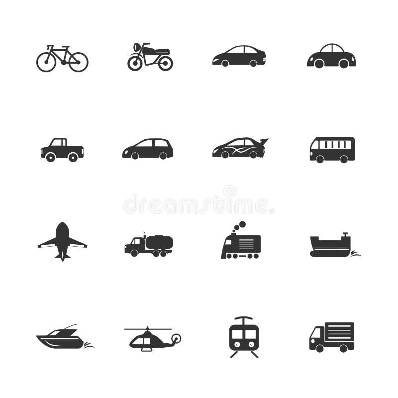 As vias navegáveis dos ícones dos veículos de transporte, por terra, arejam ilustração do vetor