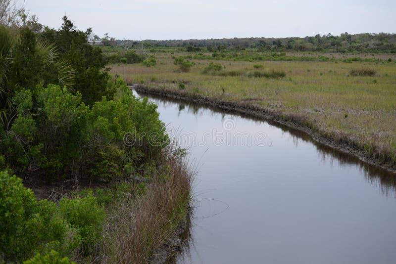 As vias navegáveis fluem durante todo o Greenway da angra de Egans em Amelia Island, Florida imagem de stock