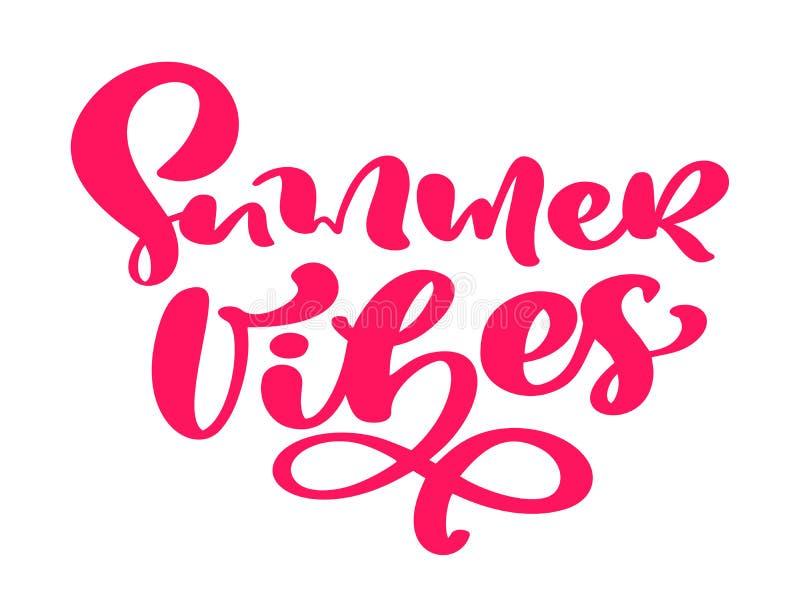 As vibrações do verão entregam tirado rotulando o texto do vetor da caligrafia Logotipo ou etiqueta do projeto da ilustração das  ilustração royalty free
