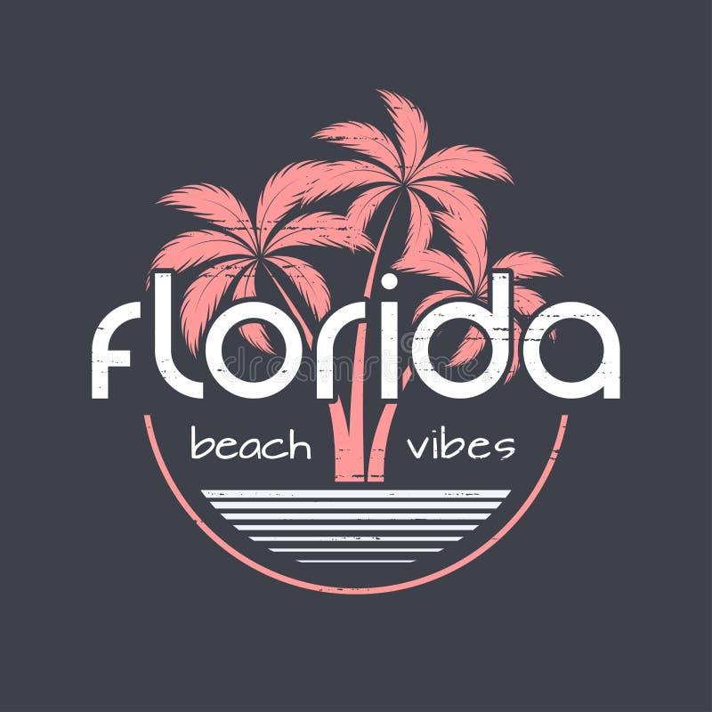 As vibrações t-shirt da praia de Florida e o vetor do fato projetam, imprimem, ty ilustração royalty free