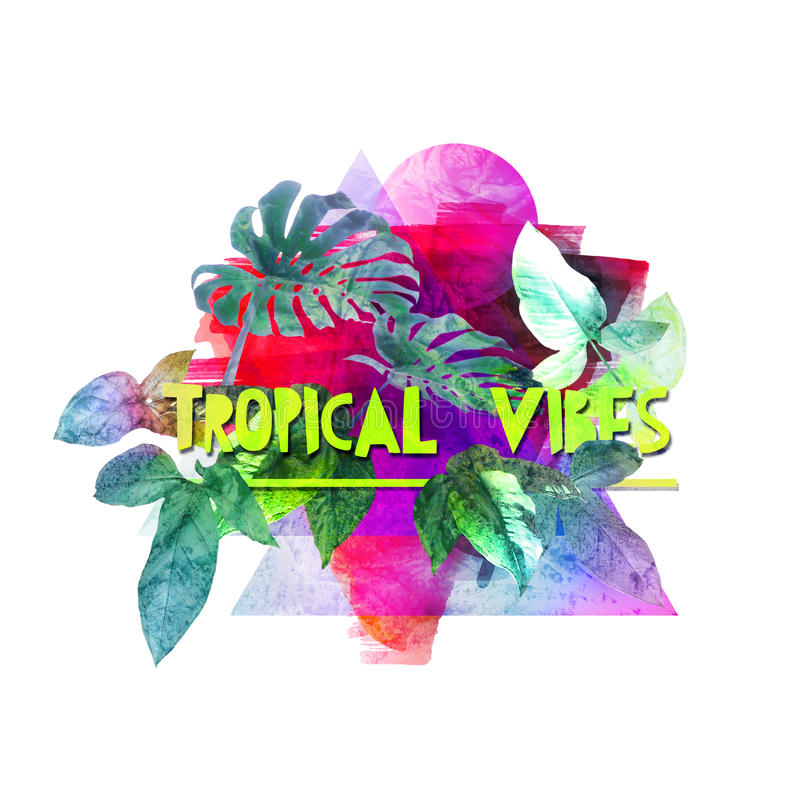 As vibrações tropicais imprimem na tela, t-shirt, sacos ilustração stock