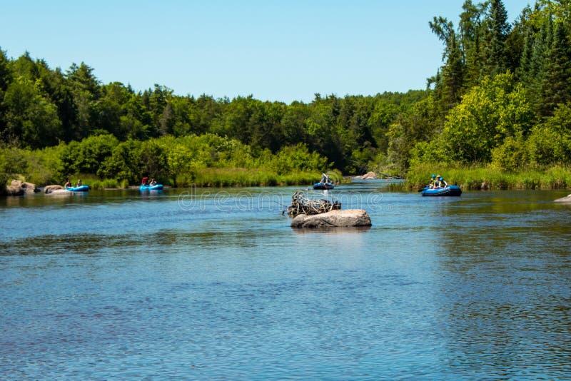 As vigas nas jangada azuis flutuam abaixo do rio/Wolf River, lago branco/, Wisconsin 7/8/2018 imagem de stock