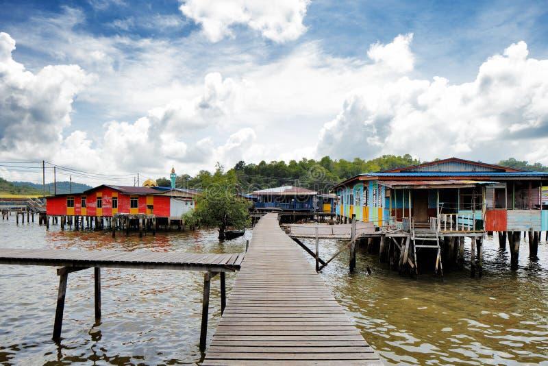 Vila famosa da água de Brunei imagem de stock