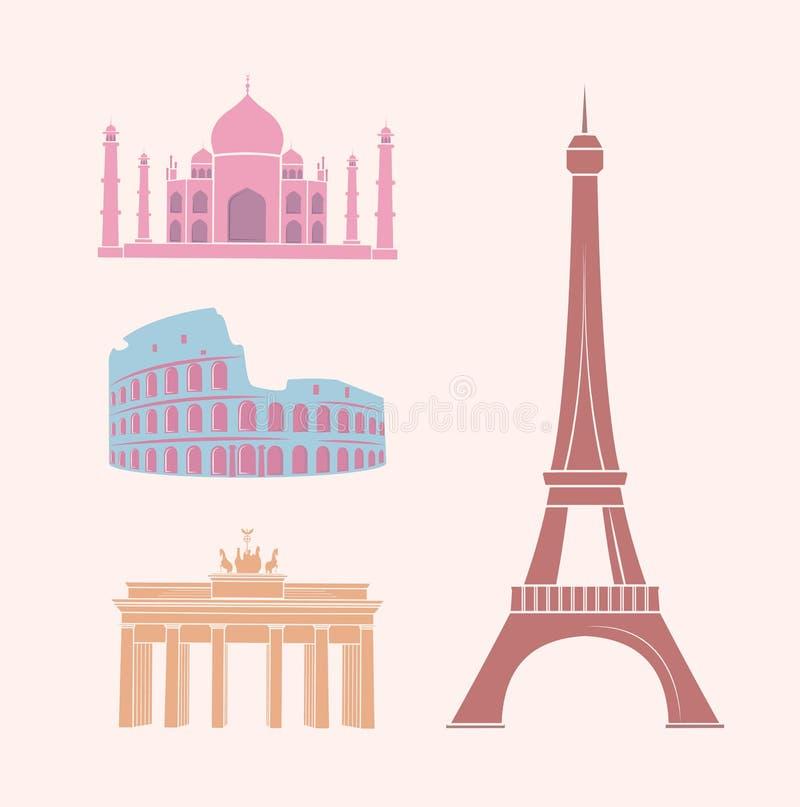 As vistas mundialmente famosas e os marcos viajam etiquetas ilustração do vetor