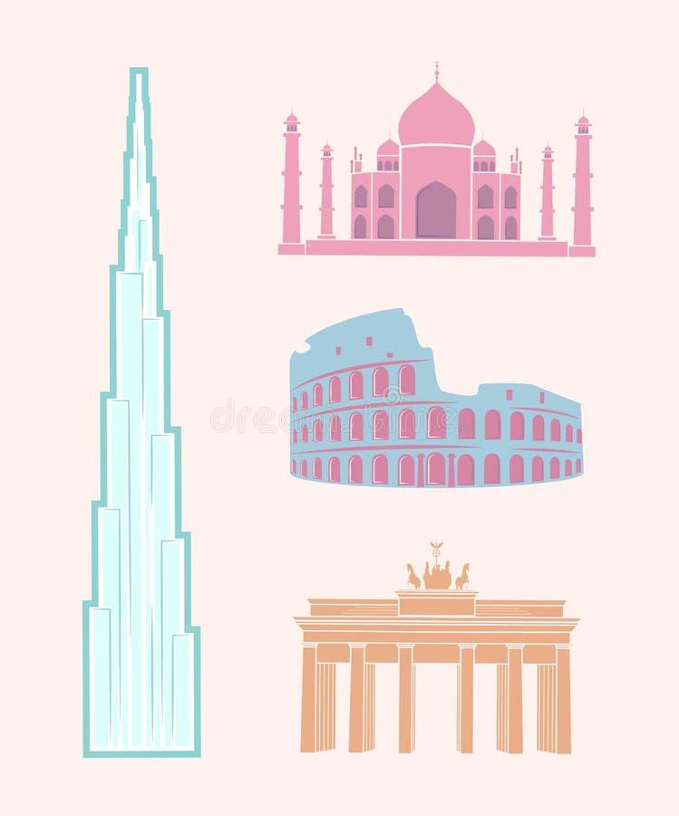 As vistas mundialmente famosas viajam grupo pastel das etiquetas ilustração stock
