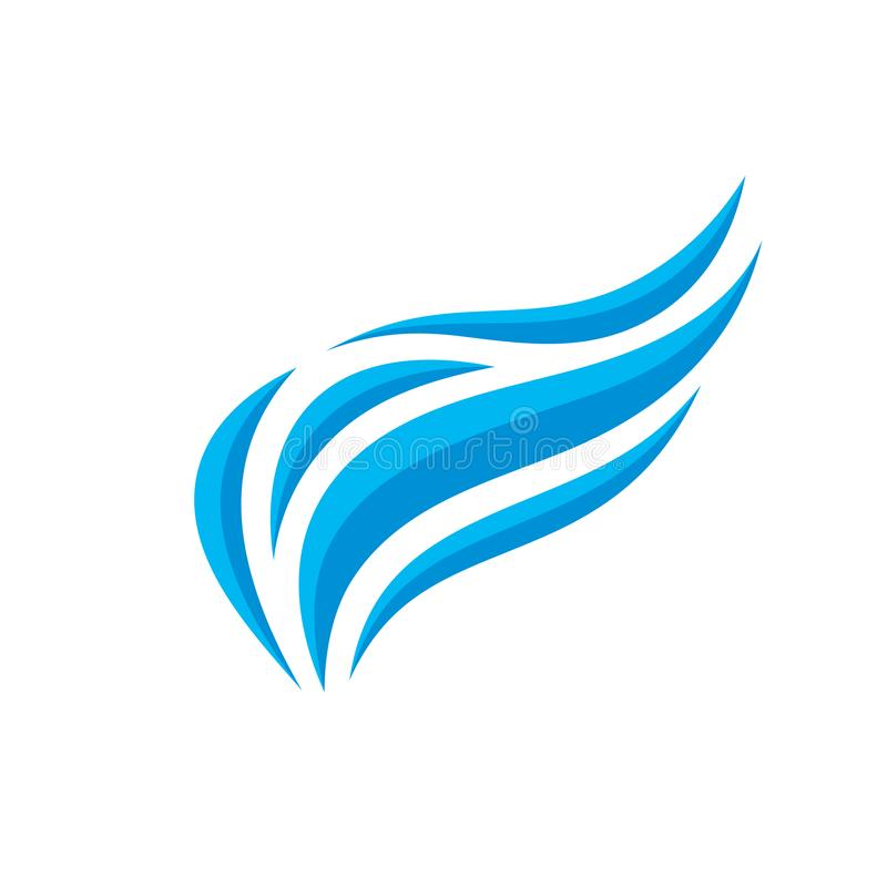 Asa abstrata - ilustração do vetor do molde do logotipo do negócio do conceito Onda azul do sinal criativo do mar Símbolo do voo  ilustração stock