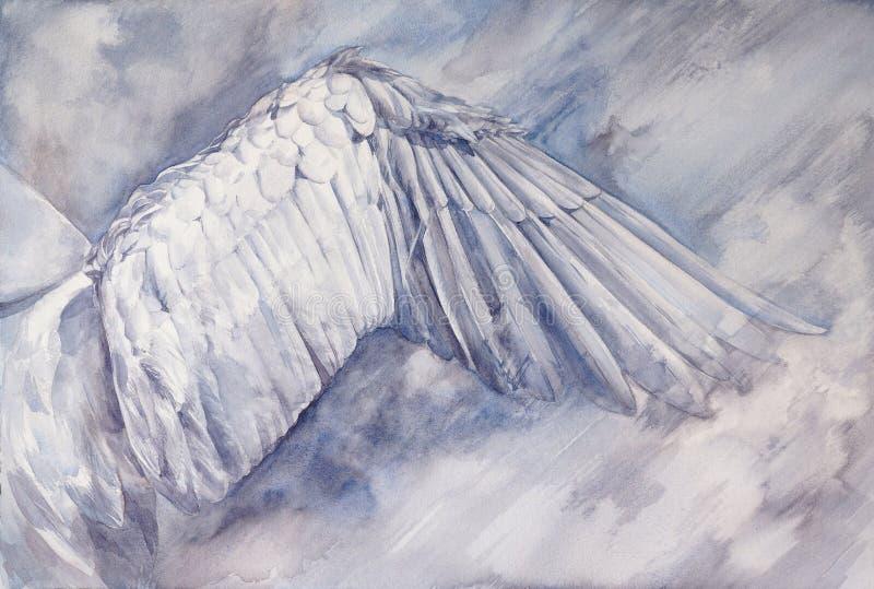 Asa branca da cisne espalhada de lado ilustração stock
