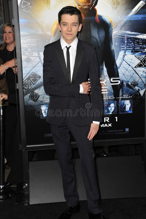 Asa Butterfield. LOS ANGELES, CA - OCTOBER 28, 2013: Asa Butterfield at the Los Angeles premiere of his movie Ender's Game at the TCL Chinese Theatre. EDITORIAL stock images