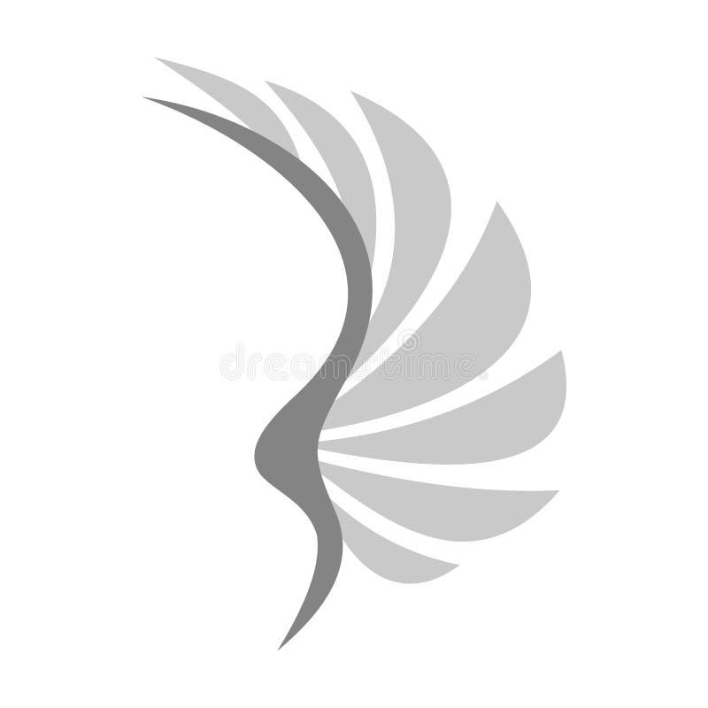 Asa cinzenta do ícone dos pássaros, estilo liso ilustração do vetor