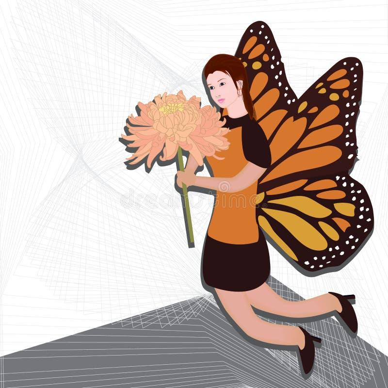Asa da borboleta da menina ilustração royalty free