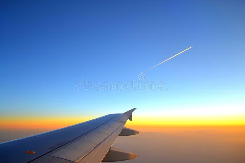 Asa e plano do voo no céu do por do sol fotografia de stock royalty free