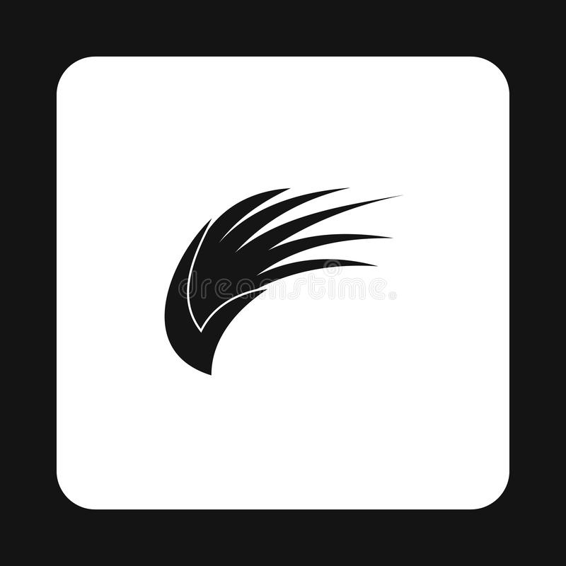 Asa longa preta dos pássaros com ícone das penas ilustração stock