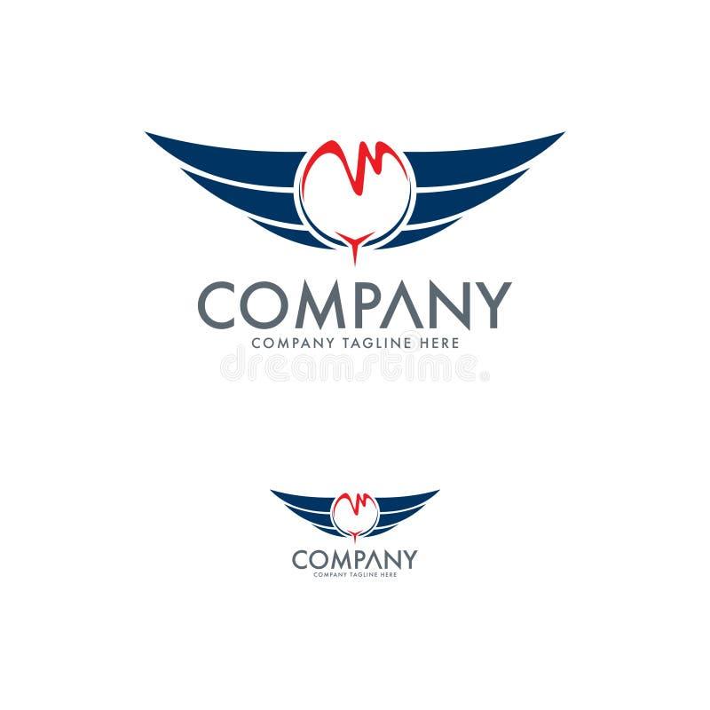 Asa, molde do projeto do logotipo do falcão ilustração stock