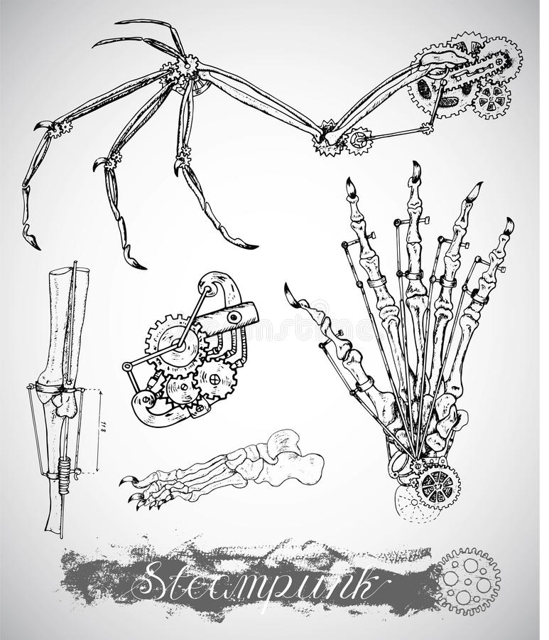 Asa, pé e mão do monstro da fantasia com mecanismo do vintage no estilo do punk do vapor ilustração stock