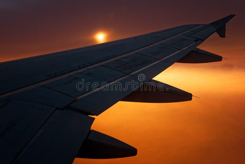 asa plana da silhueta do voo no nascer do sol do por do sol foto de stock