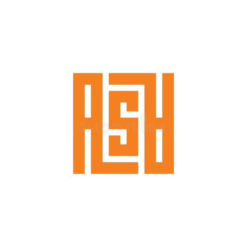 ASA Word Estilo caligr?fico moderno Letra Logo Design Template Elements Ícone alaranjado do quadrado da cor ilustração royalty free