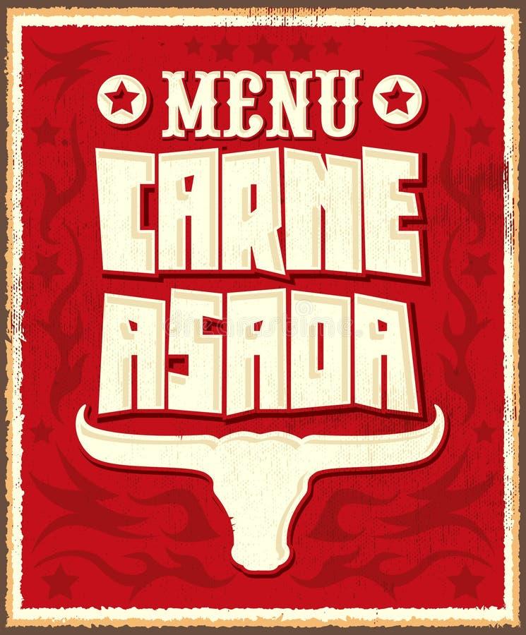 Asada di Carne, carne dell'arrosto - arrostisca col barbecue il menu spagnolo del testo illustrazione di stock