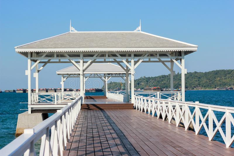 Asadang Bridge at Sichang Island in Chonburi Thailand. White bridge into the sea, Asadang Sichang Island in Chonburi Thailand stock photo