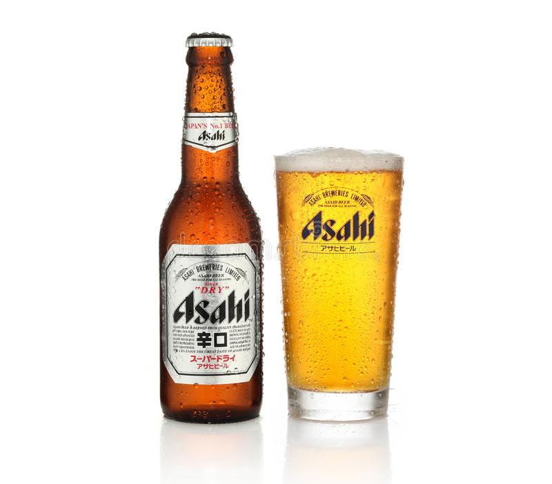 Asahi beer. In bottle and glass on white background royalty free stock images
