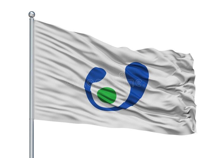 Asahi City Flag On Flagpole, Japón, prefectura de Chiba, aislada en el fondo blanco libre illustration