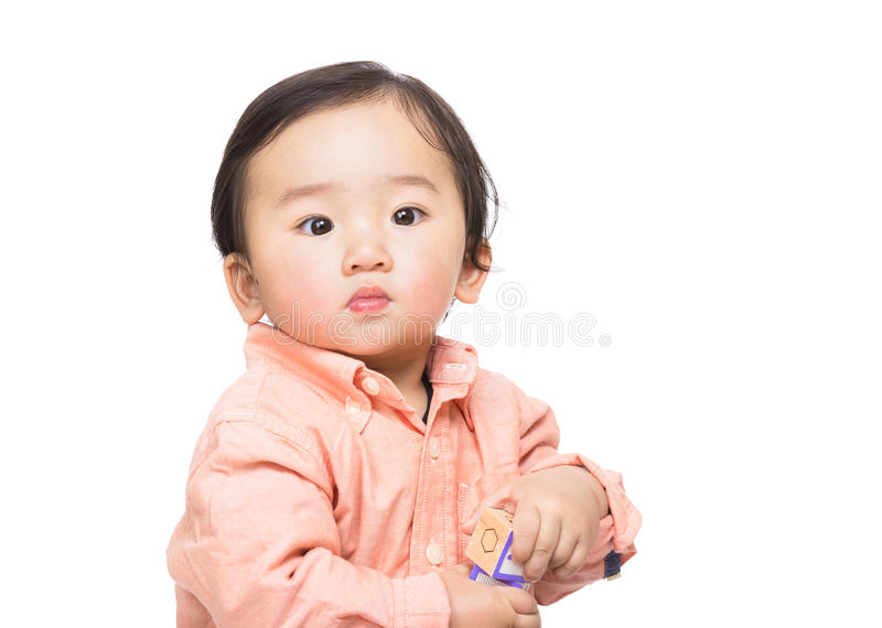 Asain baby boy play toy block. Asian baby boy play toy block isolated on white stock photography