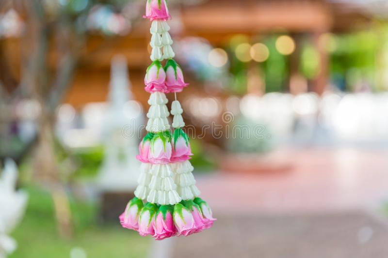 Asain white and pink flower wedding decoration in wedding ceremony day.  stock photo