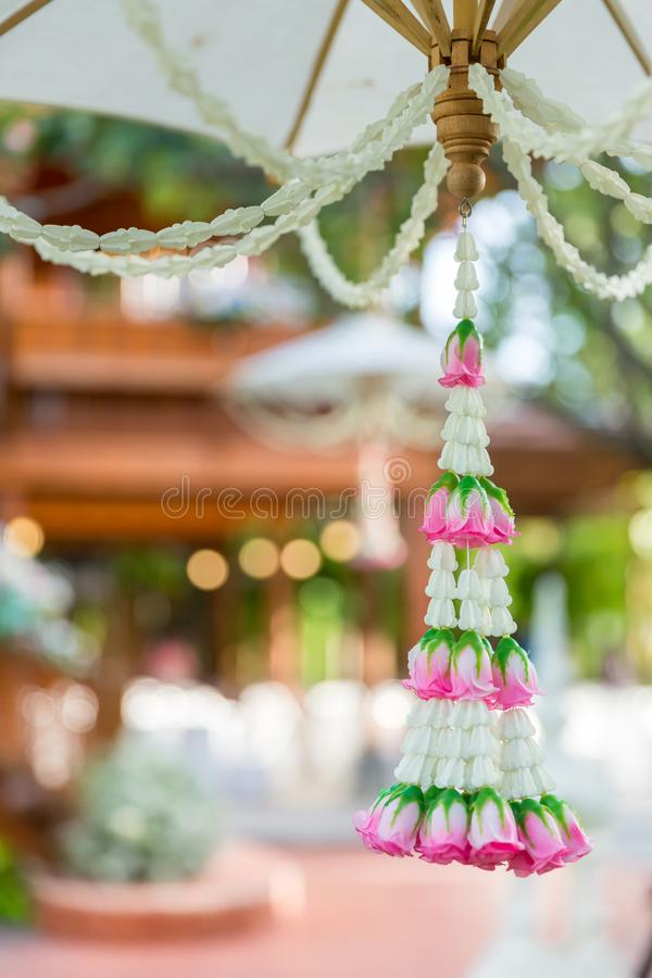 Asain white and pink flower wedding decoration in wedding ceremony day.  royalty free stock image