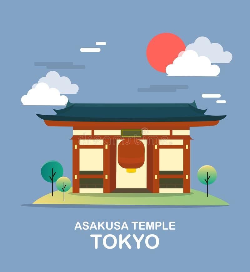 Asakusa świątynny antyczny miejsce w Tokio ilustraci desig ilustracji