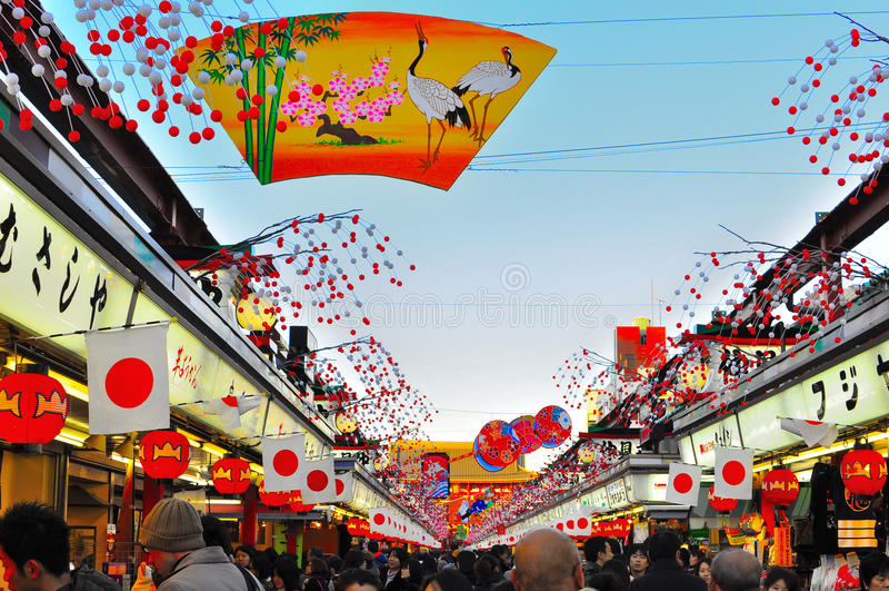 asakusa dori Japan nakamise sensoji Tokyo obraz royalty free