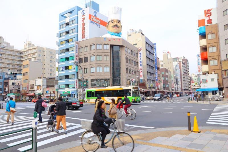 Asakusa - Kappabashi Street. TOKYO, JAPAN - DECEMBER 4, 2016: People visit Kappabashi area of Asakusa in Tokyo, Japan. Kappabashi Street is known for its royalty free stock photos