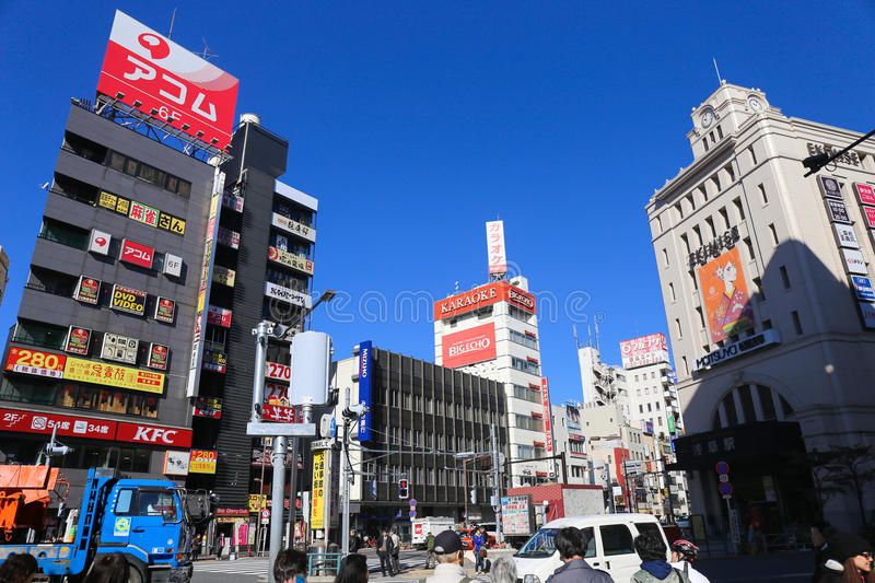 Road in front of the entrance of Asakusa Temple, Is a hub transit point and shopping one. ASAKUSA, TOKYO, JAPAN - NOVEMBER 19, 2014: Road in front of the stock images