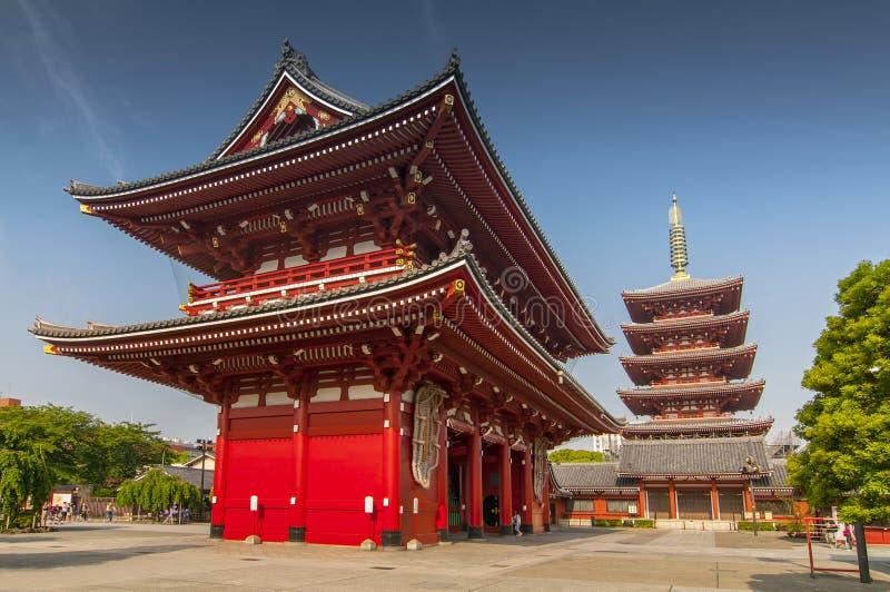 Asakusa, Tokyo at Sensoji Temple`s Hozomon Gate and five storied pagoda, Japan.  royalty free stock photos