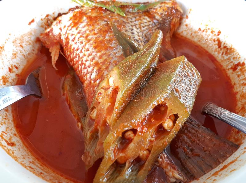 Asam Pedas lub sos z cięcie ryba gorący i kwaśny obrazy stock