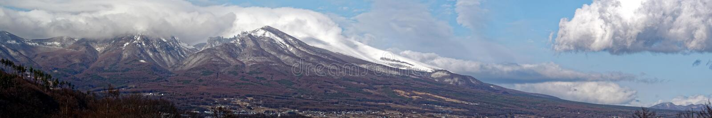 Asamayama, one of the largest volcanoes in Japan 8,340 feet. Active volcano Asamayama on the border between Gunma and Nagano royalty free stock image