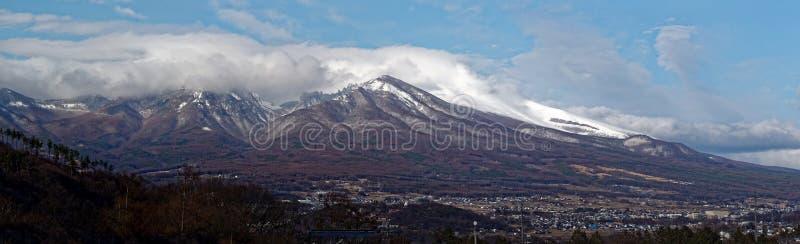 Asamayama, one of the largest volcanoes in Japan 8,340 feet. Active volcano Asamayama on the border between Gunma and Nagano stock photos
