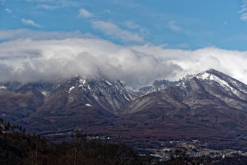 Asamayama, one of the largest volcanoes in Japan 8,340 feet. Active volcano Asamayama on the border between Gunma and Nagano stock image