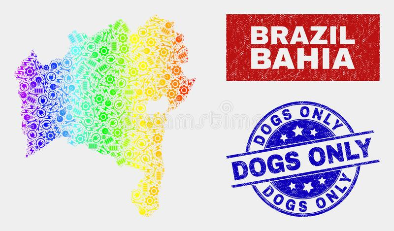 Asamblea coloreada arco iris Bahia State Map y sellos de los perros del Grunge solamente stock de ilustración